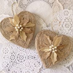 Burlap hearts ornaments set of 2  decor in the by CraftsbyBeba