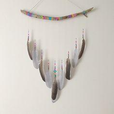 Feather Wall Hanging, Driftwood Dream Catcher, Dream Altar, Boho Decor, Wall Decor