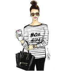 Fashion sketch of street style girl with a coffee. Called: Monday essential: Coffee and lipstick. Skeych done by Rongrong DeVoe. Done by Copic Marker Mom Day, Fashion Sketches, Fashion Illustrations, New Words, Getting Things Done, Fashion Art, Female Fashion, Fashion Quotes, Fashion Design