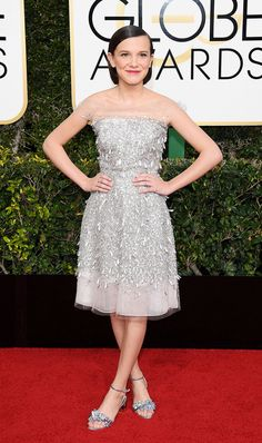 WHO: Millie Bobby Brown WHAT: Golden Globes 2017 WEAR: Jenny Packham dress; Sophia Webster shoes