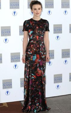 Keira Knightley in a maxi-length creation designer Erdem at the Laurence Olivier Awards, 2010.