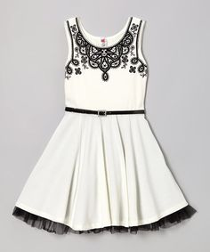 Take a look at this Ivory & Black Floral Dress by Beautees on #zulily today!