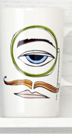 Ceramic coffee mug with a one-eyed, mustached man and his monocle. #Starbucks #DotCollection