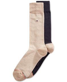 7d1ffa6d6614 $35 TOMMY HILFIGER Men 2-Pair Pack BLUE BEIGE COTTON Crew Dress Socks SHOE 7