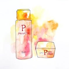 [illustration] pink, beauty illustration, water colour, cosmetic items