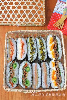 K Food, Food Art, Onigirazu, Sushi Cake, Cute Snacks, Asian Recipes, Ethnic Recipes, Cafe Menu, Sandwiches