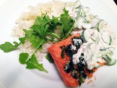 Slow-Roasted+Salmon+with+Cucumber+Yogurt+and+Quick-Preserved+Lemons+-+Amateur+Gourmet