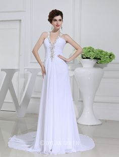 Sexy A-line Beading V-neck Sleeveless Chiffon Wedding Dress with Applique