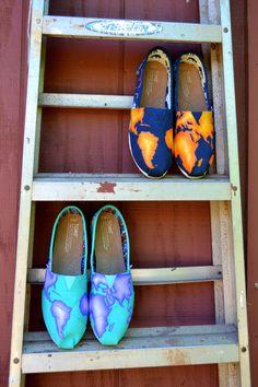 Custom Hand Painted Earth TOMS shoes! www.amandajoybowers.com