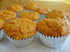"PP says: ""Weight Watchers Pumpkin Muffins. My doctor actually recommended these! They are dangerously delicious though, so be careful! Only two ingredients, very healthy, and make for a great grab-and-go breakfast."" Made with spice cake mix - easy & good Weight Watchers Pumpkin, Weight Watchers Desserts, Ww Recipes, Dessert Recipes, Cake Recipes, Skinny Recipes, Baking Recipes, Breakfast Recipes, Low Calorie Muffins"