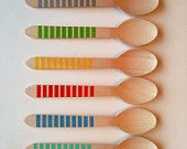 Cuillèresen bois a rayures de fête -CHOISISSEZ VOS COULEURS -8 couleurs (jeu de 12) /utencils anniversaire Décoration / Sweet Décorations de