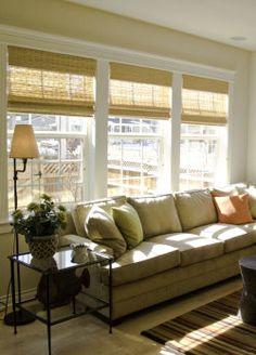 Bright living room, bamboo shades