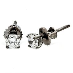 Denny 4mm 05ct Brilliant Cut Ice on Fire CZ Rhodium Finish Screw Back Stud Earrings Silver 0987 * You can get more details by clicking on the image. Note:It is Affiliate Link to Amazon.