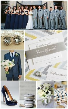 Gray and Navy Wedding Inspiration from Shine Wedding Invitations! Gray Suits, Navy Tie, Navy Heels, Anemone Bouquet, Navy Bridesmaids Dress, Classic Whimsy Wedding Invitations, Classic Gray Wedding Stationery