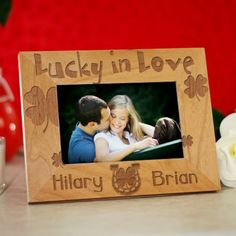Personalized Lucky in Love Wood Picture Frame