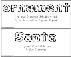 Christmas Color by Number Words