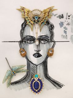 Elie Top, Lanvin's jewellery artistic director, expressed his jewellery selection for Artcurial in the form of surrealist-futurist illustrations © Artcurial High Jewelry, Luxury Jewelry, Jewelry Art, Vintage Jewelry, Jewelry Necklaces, Jewelry Design, Jewellery, Monaco, Jewel Of The Seas