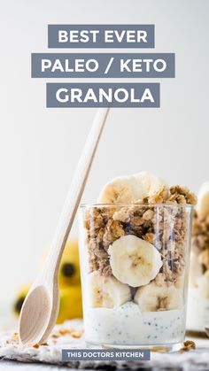 This paleo granola is my absolute favourite fat-bomb breakfast. I eat this granola almost daily with coconut yoghurt and fresh berries. Peanut Butter Bombs, Coconut Fat Bombs, Lemon Coconut, Coconut Oil, Almond Milk, Chocolate Bomb, Low Carb Chocolate, Chocolate Recipes, Keto Granola
