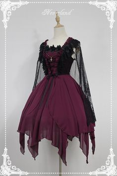 Custom Size Available Souffle Song Dark Ballet Floral Neckline Fairy Skirt Gothic Lolita JSK with Detachable Cape Gothic Lolita Dress, Gothic Lolita Fashion, Gothic Outfits, Emo Outfits, Kawaii Fashion, Cute Fashion, Fashion Outfits, Emo Fashion, Fashion Ideas
