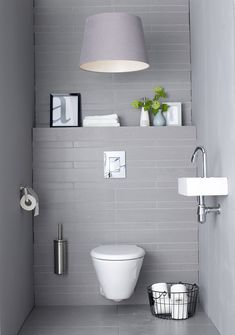 Small Minimalist Bathroom Design: So Can A Comfortable Guest Toilet Design Guest Toilet, Downstairs Toilet, Bathroom Toilets, Laundry In Bathroom, Bathroom Laundry, Bad Inspiration, Bathroom Inspiration, Bathroom Interior, Modern Bathroom