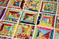 Stunning combination of fabrics and colors on this quilt...love!