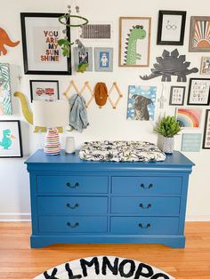 That painted blue changing table dresser! Baby Boy Nursery Themes, Nursery Decor Boy, Project Nursery, Nursery Furniture, Baby Boy Nurseries, Nursery Wall Art, Painted Furniture, Nursery Ideas, Furniture Ideas