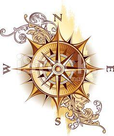 Bilderesultat for vintage compass design Nautical Compass Tattoo, Compass Art, Compass Drawing, Compass Tattoo Design, Vintage Compass Tattoo, Compass Logo, Sextant Tattoo, Mariners Compass, Trendy Tattoos