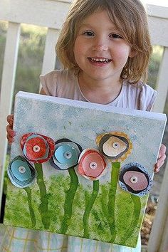 Encourage kids' creativity with just a bit of guidance by following the tutorial for this sweet, Spring-y poppy painting on canvas.  Source: Create Celebrate Explore