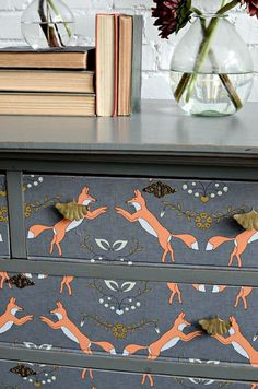 Wall papered drawers