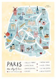 Paris Illustrated Map-France Art Print-City Map Poster Paris Illustrated Map - Paris Print - City Map Poster Romantic illustrated map print of Paris. With the Eiffel Tower, the Louvre, Moulin Rouge, S Paris Map, Paris City, Paris France Travel, Paris Poster, London Map, Map France, France Art, Lyon France, Travel Tips