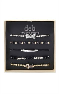 Deb Shops Five Piece Mixed Friendship Bracelet Set with Stone Bow and Cross $7.74