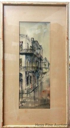 Orig Robert M Rucker New Orleans Louisiana French Quarter Watercolor Painting #Impressionism