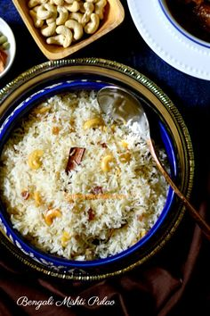 Bengali mishti pulao / white pulao/ sweet pulao and famous Golbari style kosha mangsho / bengali mutton curry / bhuna gosht recipe Savoury Rice Recipe, Savory Rice, Bangladeshi Food, Bengali Food, Bangladeshi Recipes, Curry Recipes, Rice Recipes, Vegetarian Recipes, Dessert Recipes
