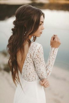 Wholesale beautiful bridal dresses, best wedding gowns and bridal wedding dresses on DHgate com are fashion and cheap The wellmade beach wedding dress long sleeve boho v neck open back bridal dresses 2019 chiffon princess lace chiffon wedding gown n - b Chiffon Wedding Gowns, Long Wedding Dresses, Bridal Dresses, Lace Chiffon, Chiffon Dresses, Backless Wedding, Dress Wedding, Wedding Hair Side, Wedding Hair And Makeup