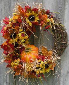 Fall Wreath Autumn Wreaths Thanksgiving by NewEnglandWreath, $169.00