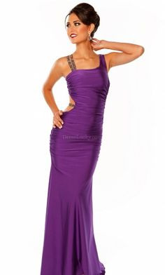 Sexy Purple Sheath/Column Backless Sleeveless Long/Floor-length Evening Dresses ED37A4