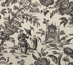 WILLIAMSBURG ASIAN ARCADIA BLACK ORCHID D4144 TOILE 100% LINEN FABRIC BY YARD  | eBay