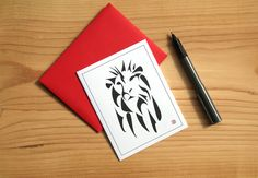 Lion Art Card  Greeting Card  Invitation  Thank You by Sabastica