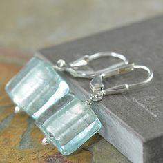 South Paw Studios Handcrafted Designer Jewelry - Light Aqua Blue Venetian glass earrings, Flat Squares