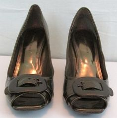 Etienne Aigner  Bronze Tone 3 inch Open Toe Heel Shoes  Size 9.5 Manmade material Buckle toe strap design No box