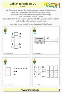 Suchst Du Mathe-Aufgaben für die erste Klasse zum Thema Zahlenraum bis 20? Ich zeige Dir hier einen Ausschnitt aus dem Aufgabenfundus des Mathiki-Online-Camps. Schau doch einfach mal vorbei und überzeuge Dich von der Vielfalt der Aufgaben! Alle Aufgaben sind mit Lösungen. #Zahlenraum20 #Mathe #Klasse1 #Schule #Arbeitsblatt #Mathiki #MathikiOnlineCamp #math #grade1 #school #worksheet #download Map, Comparing Numbers, Tens And Ones, Free Worksheets, Mathematics, Location Map, Maps