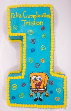 number 1 spongebob - first year birthday with smash cake