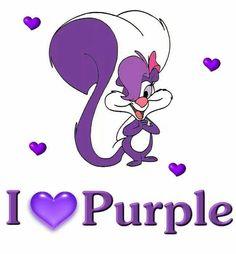 I Love Purple. Fifi La Fume is a purple and white female skunk cartoon character from the Warner Bros. Purple Love, Purple Rain, All Things Purple, Shades Of Purple, Deep Purple, Pink Purple, Purple Stuff, Purple Flowers, Lila Heels