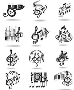 Music notes set of music design elements or icons Vector Image Learning Music Notes, Music Notes Art, Teaching Music, Music Education, Music Music, Learning Piano, Music Tattoo Designs, Music Tattoos, Tatoos
