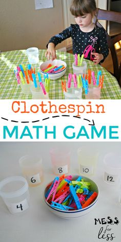 This clothespin math preschool math activity requires very little set up time and give kids an opportunity to practice math as well as strengthen fine motor skills. #mathathome #finemotor #kidslearning Preschool Bulletin Boards, Preschool Math, Kindergarten Classroom, Love Math, Motor Activities, Early Education, Math Games, Fine Motor Skills, Kids Learning