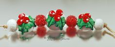 $30 Made to Order ~ Hollyberry Set - Handmade Lampwork by Bastille Bleu Lampwork.