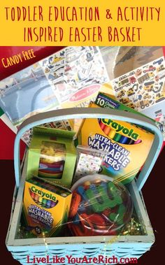 Fun activities and learning-based gifts for a 'Toddler Education and Activity Inspired Easter Basket'. Hoppy Easter, Easter Eggs, Easter Activities, Fun Activities, Easter Baskets For Toddlers, Easter Holidays, Random Holidays, Free Candy, Diy Easter Decorations