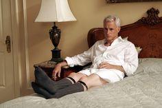 Roger Sterling (John Slattery) ~ Mad Men Episode Stills ~ Season Episode 6 ~ Babylon John Slattery, Amc Shows, Don Draper, Vintage Underwear, Watch Tv Shows, Mad Men, Season 1, Make You Smile, Socks