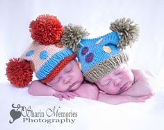 Knit Hat POM POMS and Polka Dots Photo Prop Newborn Hat for Baby Orange Turquoise, Twins