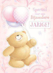 Verjaardagskaart vrouw - beer-met-ballon-jarig